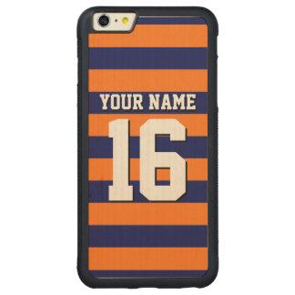 Pumpkin Orange Navy Blue Team Jersey Preppy Stripe Carved Maple iPhone 6 Plus Bumper Case