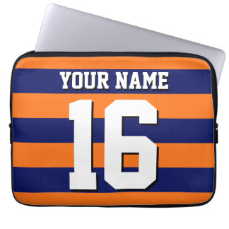 Pumpkin Orange Navy Blue Team Jersey Preppy Stripe Computer Sleeve