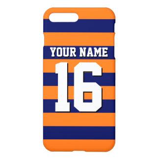 Pumpkin Orange Navy Blue Team Jersey Preppy Stripe iPhone 8 Plus/7 Plus Case