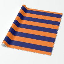 Pumpkin Orange, Navy Blue XL Stripes Pattern V Wrapping Paper
