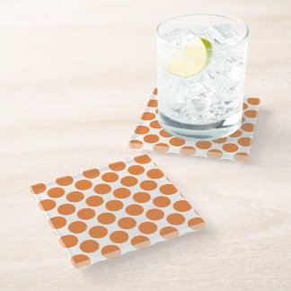 Pumpkin Orange Polka Dots Glass Coaster