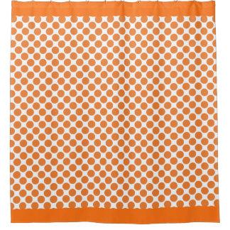 Pumpkin Orange Polka Dots Shower Curtain