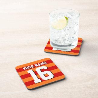 Pumpkin Orange Red Team Jersey Preppy Stripe Beverage Coaster