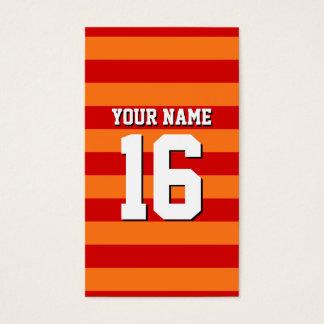 Pumpkin Orange Red Team Jersey Preppy Stripe Business Card