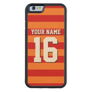 Pumpkin Orange Red Team Jersey Preppy Stripe Carved Maple iPhone 6 Bumper Case