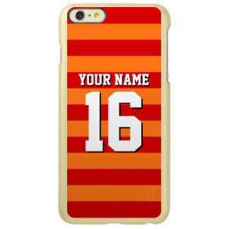 Pumpkin Orange Red Team Jersey Preppy Stripe Incipio Feather Shine iPhone 6 Plus Case
