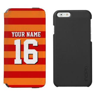 Pumpkin Orange Red Team Jersey Preppy Stripe iPhone 6/6s Wallet Case