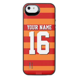 Pumpkin Orange Red Team Jersey Preppy Stripe iPhone SE/5/5s Battery Case