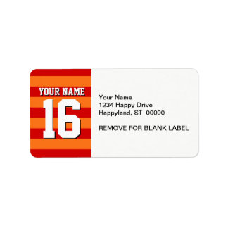Pumpkin Orange Red Team Jersey Preppy Stripe Label