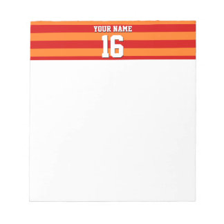 Pumpkin Orange Red Team Jersey Preppy Stripe Notepad