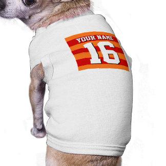 Pumpkin Orange Red Team Jersey Preppy Stripe Pet Tshirt