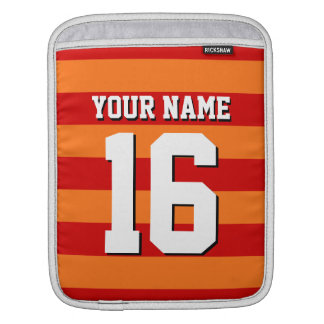Pumpkin Orange Red Team Jersey Preppy Stripe Sleeve For iPads