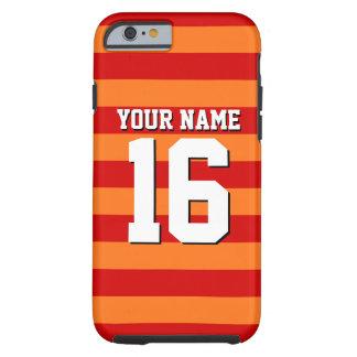 Pumpkin Orange Red Team Jersey Preppy Stripe Tough iPhone 6 Case