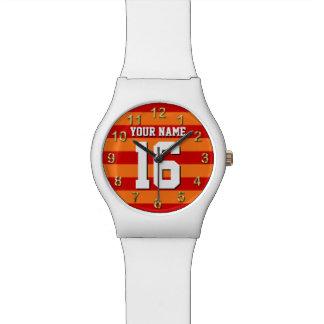 Pumpkin Orange Red Team Jersey Preppy Stripe Watch