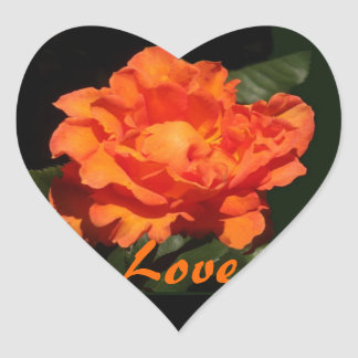 """Pumpkin Orange Rose """"Love! Flowers!"""" Heart Heart Sticker"""