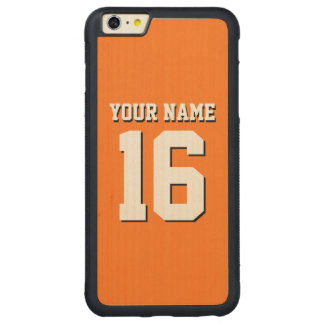 Pumpkin Orange Sporty Team Jersey Carved Maple iPhone 6 Plus Bumper Case