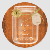 pumpkin orange sunflower mason jar wedding seals