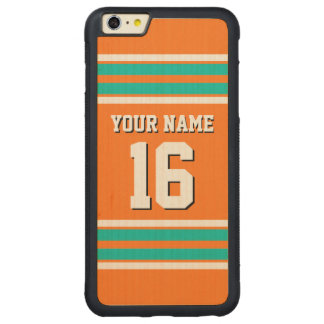 Pumpkin Orange Teal Team Jersey Custom Number Name Carved Maple iPhone 6 Plus Bumper Case