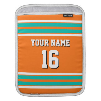 Pumpkin Orange Teal Team Jersey Custom Number Name Sleeve For iPads