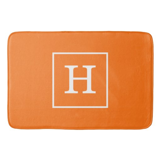 Pumpkin Orange White Framed Initial Monogram Bath Mat