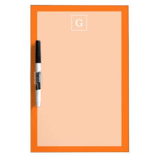Pumpkin Orange White Framed Initial Monogram Dry Erase Whiteboards