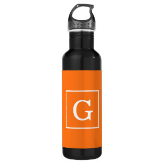Pumpkin Orange White Framed Initial Monogram 24oz Water Bottle