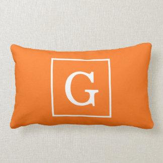Pumpkin Orange White Framed Initial Monogram Pillow