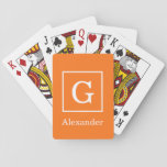 "Pumpkin Orange White Framed Initial Monogram Playing Cards<br><div class=""desc"">Pumpkin Orange and White Framed Initial Monogram A stylish solid background with a white framed area for your monogram, name or other text. You can also change the text font, change the font size and color, move the text, etc. If you would like this design in other colors, just drop...</div>"