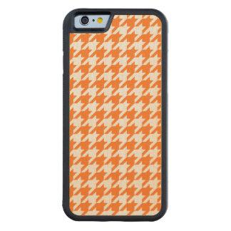 Pumpkin Orange White Houndstooth Pattern #2M Carved Maple iPhone 6 Bumper Case