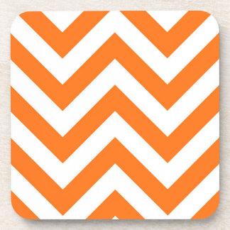 Pumpkin Orange, White Large Chevron ZigZag Pattern Beverage Coasters