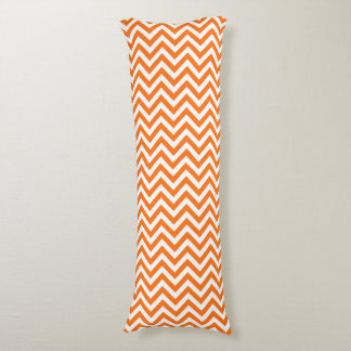 Pumpkin Orange, White Large Chevron ZigZag Pattern Body Pillow