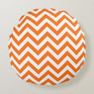 Pumpkin Orange, White Large Chevron ZigZag Pattern Round Pillow