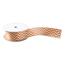 Pumpkin Orange, White Large Chevron ZigZag Pattern Satin Ribbon