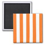 Pumpkin Orange White XL Stripes Pattern Refrigerator Magnet