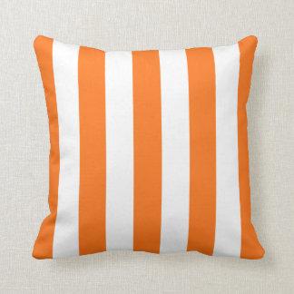 Pumpkin Orange White XL Stripes Pattern Pillow