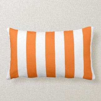 Pumpkin Orange White XL Stripes Pattern Throw Pillow