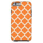 Pumpkin Orange Wht Moroccan Quatrefoil Pattern #5 Tough iPhone 6 Case