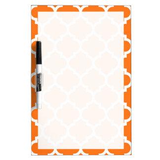 Pumpkin Orange Wht Moroccan Quatrefoil Pattern #5 Dry Erase Board