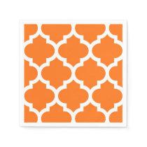 Pumpkin Orange Wht Moroccan Quatrefoil Pattern #5 Paper Napkin