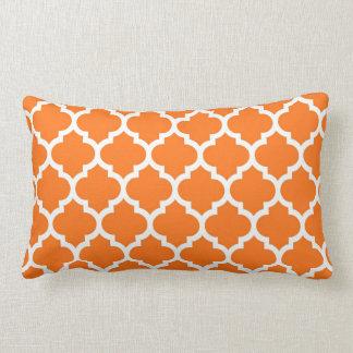 Pumpkin Orange Wht Moroccan Quatrefoil Pattern #5 Pillow