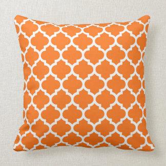 Pumpkin Orange Wht Moroccan Quatrefoil Pattern #5 Throw Pillow