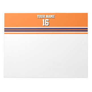 Pumpkin Orange with Navy White Stripes Team Jersey Notepad