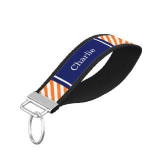 Pumpkin Orange Wt Preppy Diag Stripe Name Monogram Wrist Keychain