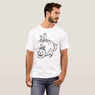 Pumpkin Outline Illustration T-Shirt