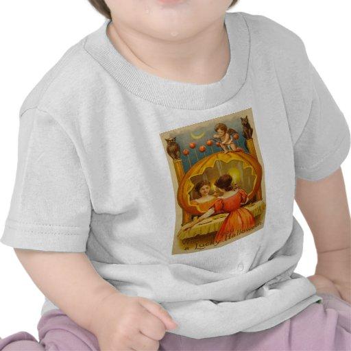 Pumpkin Owl Apple Cupid Divination Black Cat Tee Shirt
