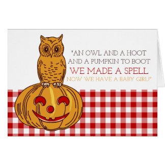 Pumpkin Owl & Gingham Baby Girl Announcement