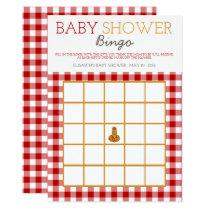 Pumpkin Owl & Gingham Baby Shower Bingo Card
