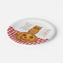 Pumpkin Owl & Gingham Baby Shower Paper Plate