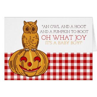 Pumpkin Owl & Gingham It's a Baby Boy Announcement