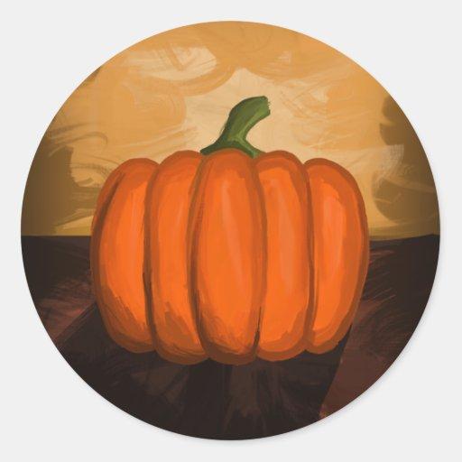 Pumpkin Painting Round Stickers